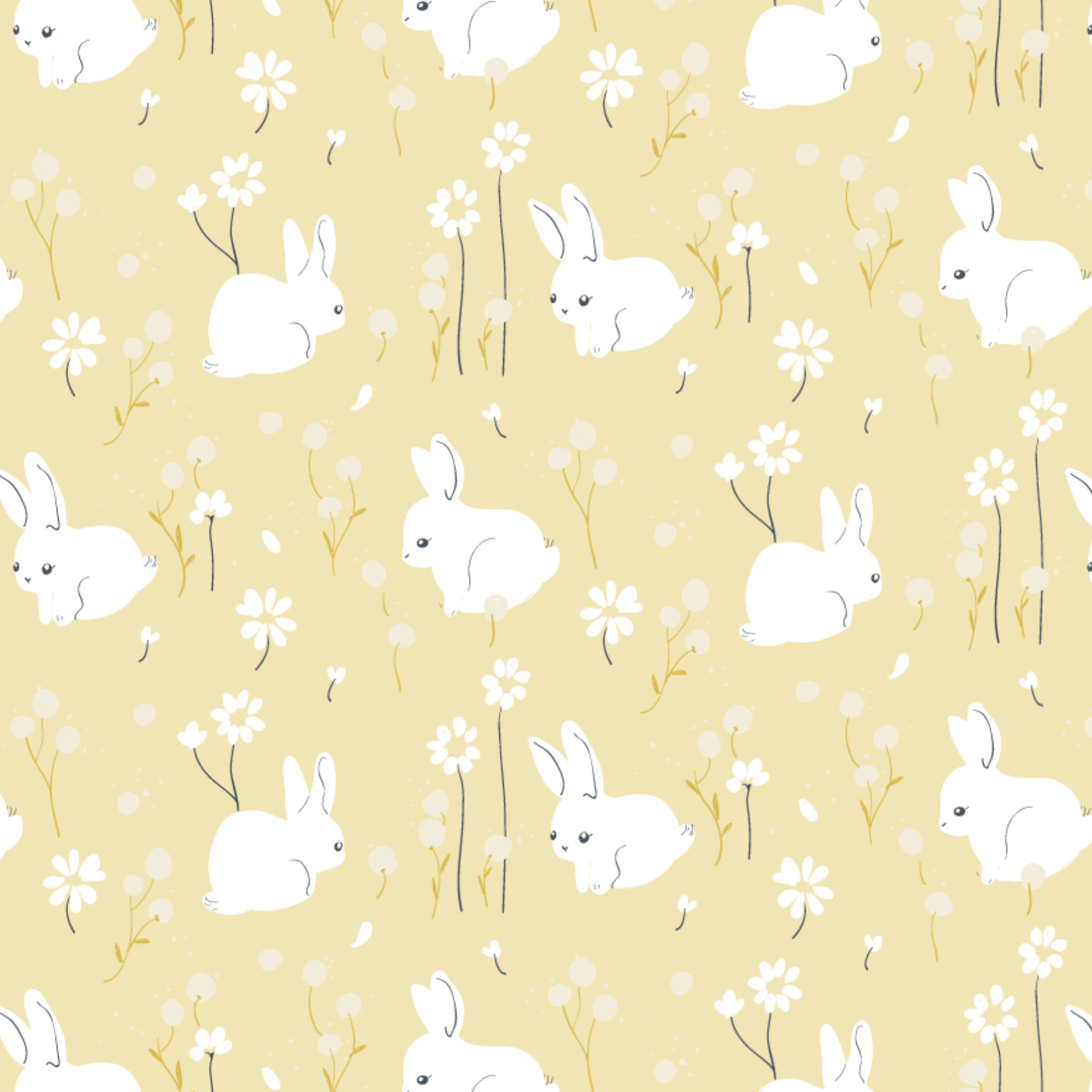 Little by Birch Fabrics - White Bunny Organic Poplin