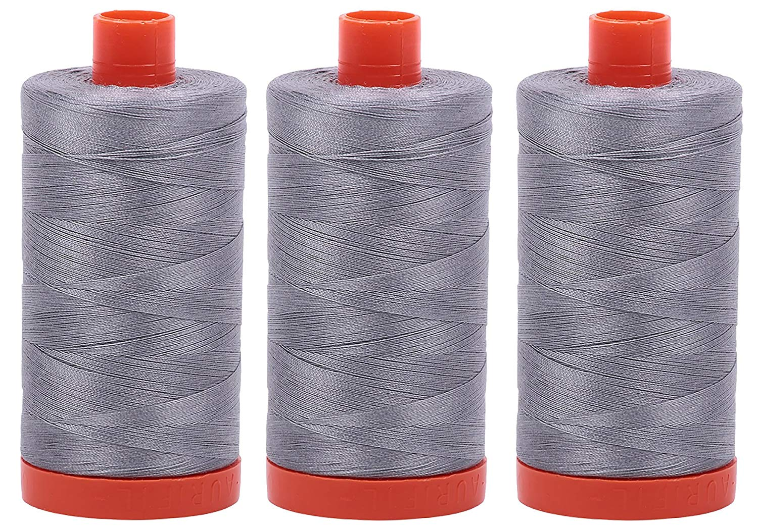 Aurifil Mako 50 wt Cotton Thread - Grey (2605) - Bundle of 3 Large Spools