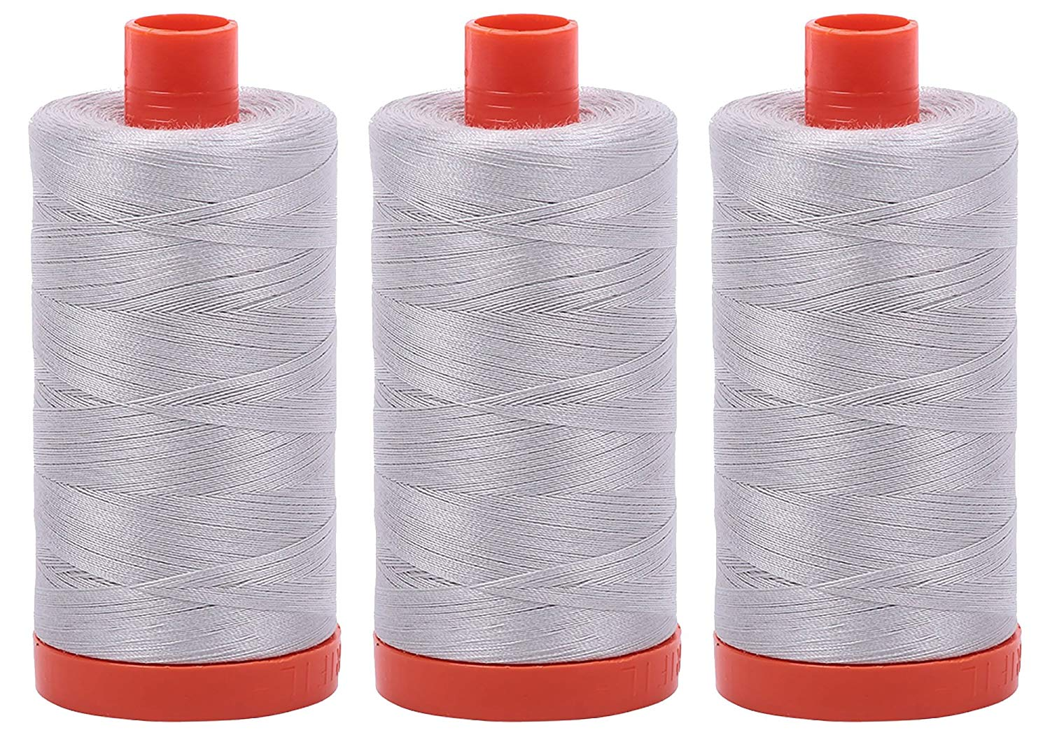 Aurifil Mako 50 wt Cotton Thread - Aluminum (2615) - Bundle of 3