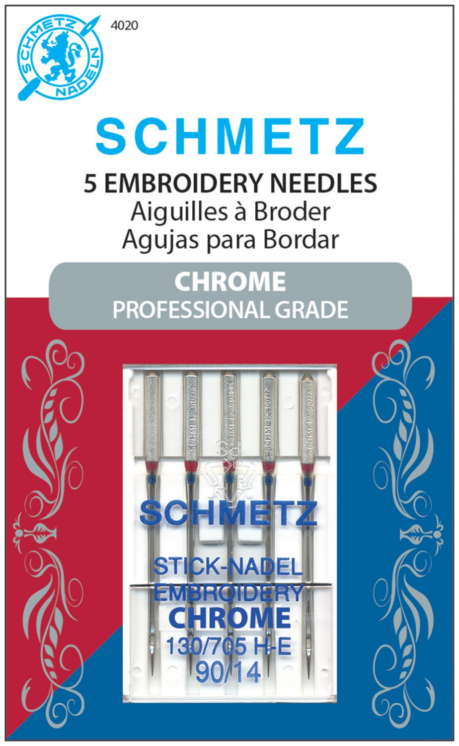 Schmetz Chrome Embroidery Needles - Size 90/14