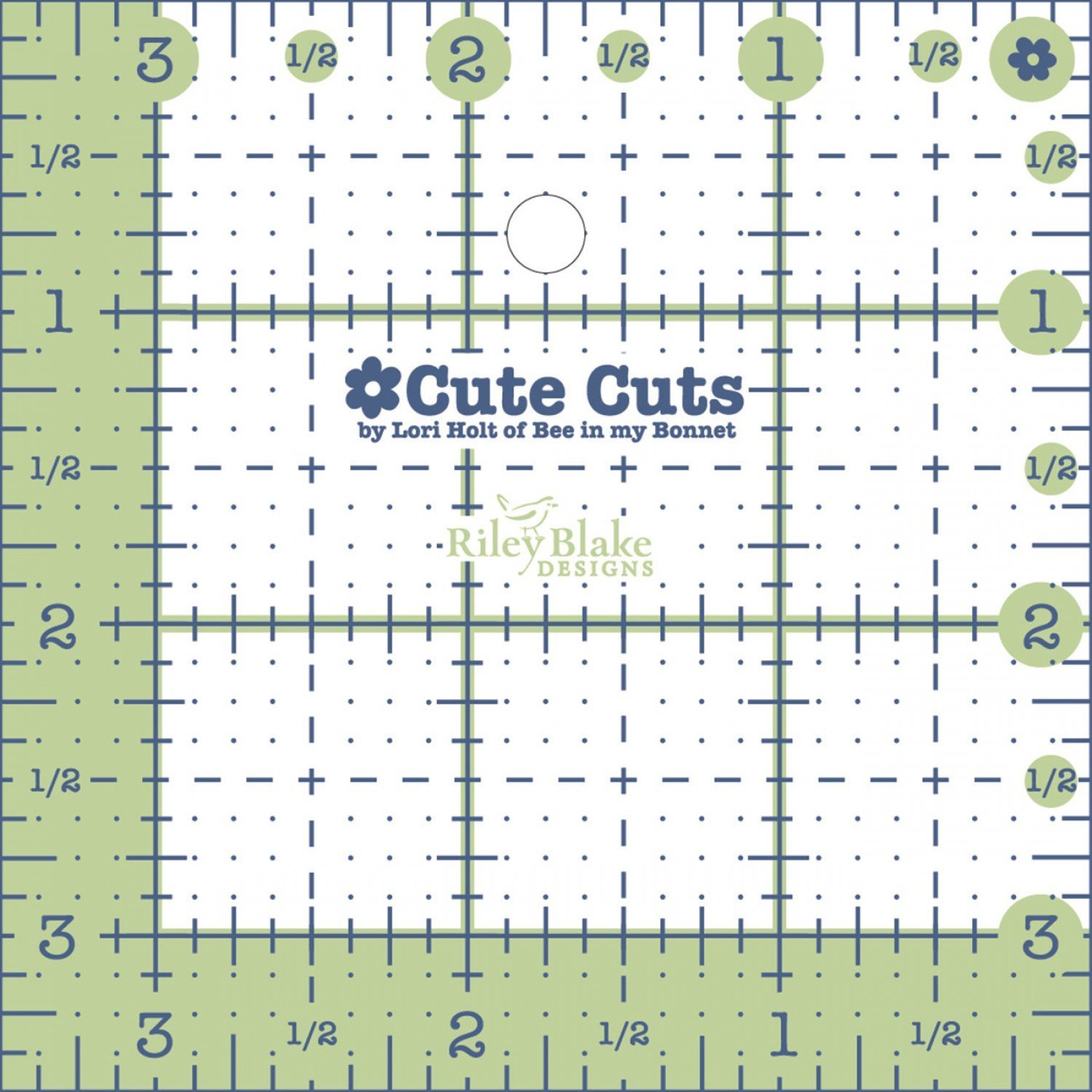 Lori Holt Cute Cuts Square Ruler - 3.5
