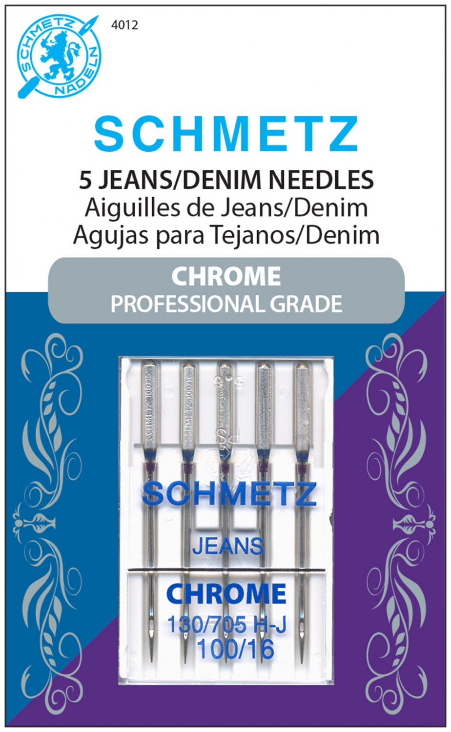 Schmetz Chrome Denim Needles - Size 100/16