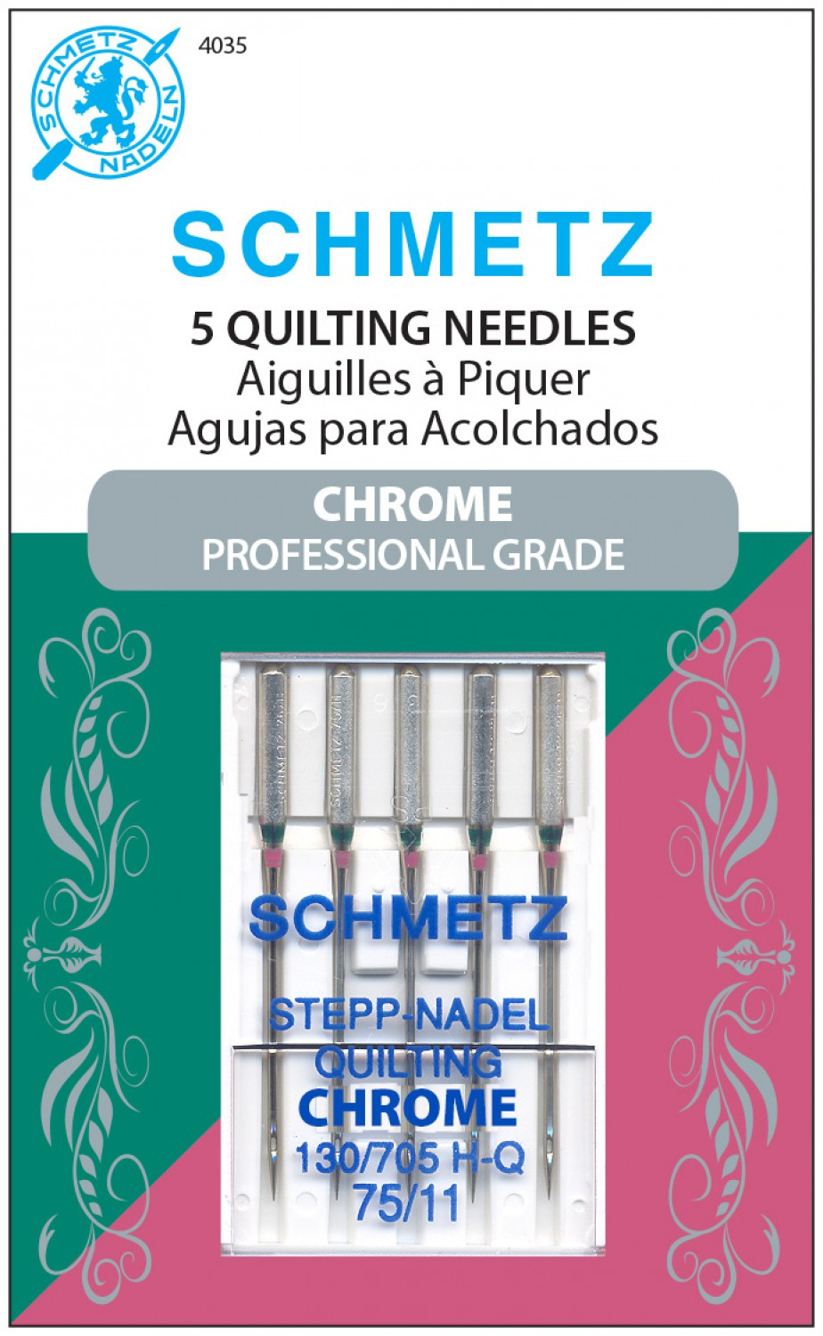 Schmetz Chrome Quilting Needles - Size 75/11