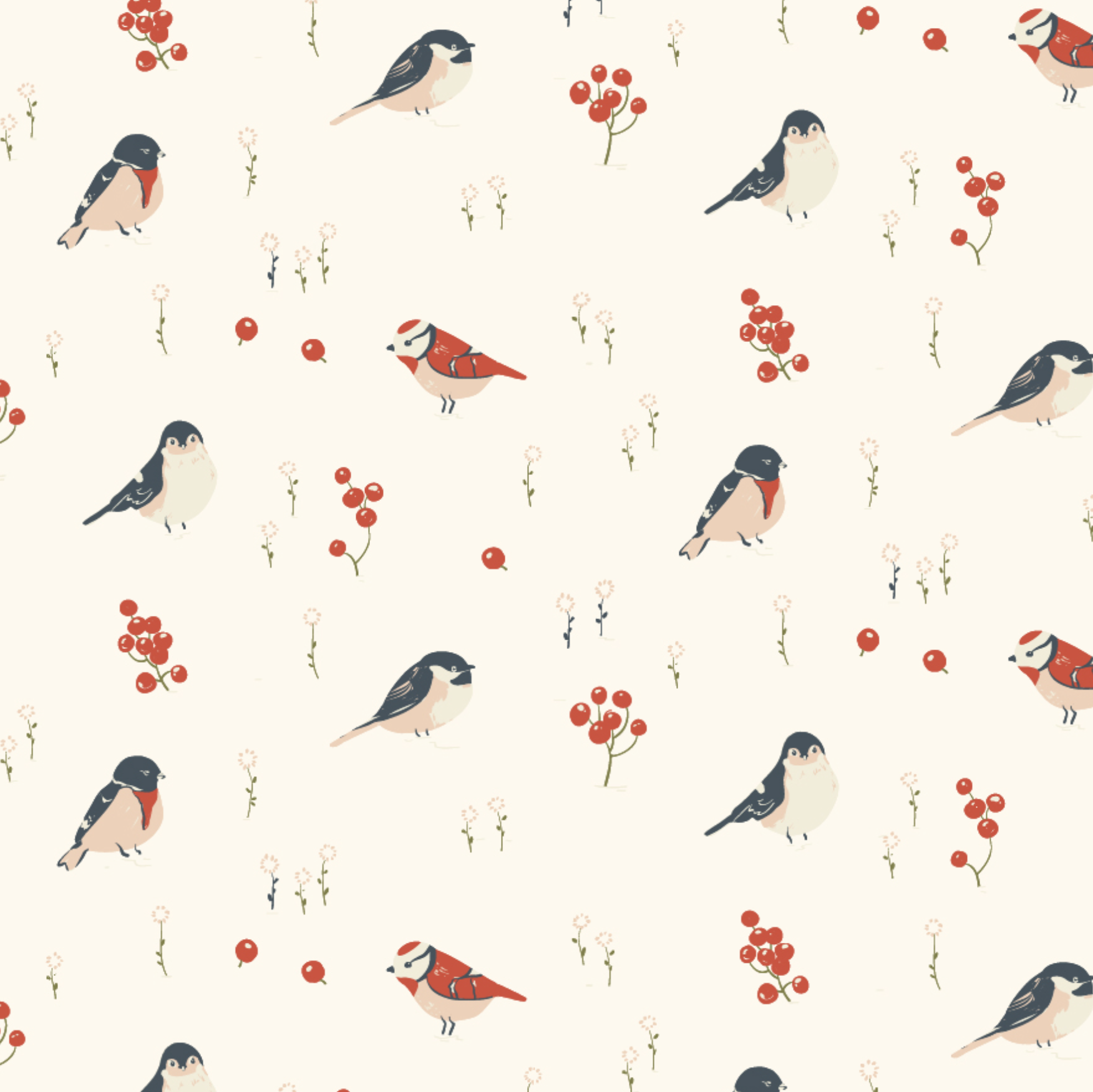 Little by Birch Fabrics - Love Birds Organic Poplin