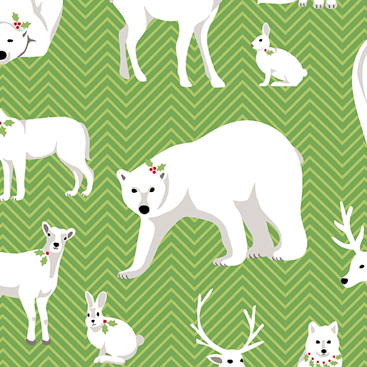 Nordic Holiday - White Animals Green