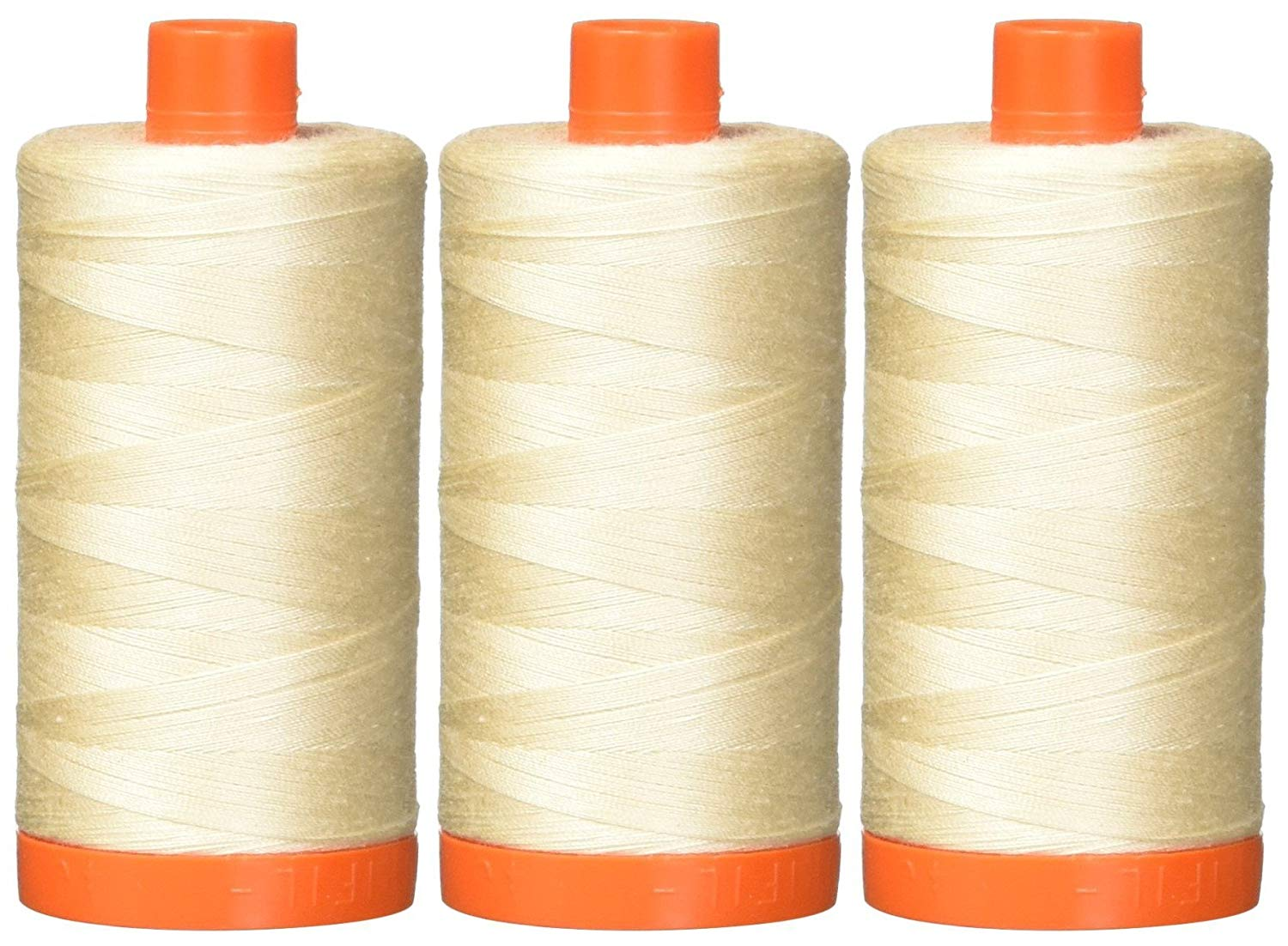 Aurifil Mako 50wt Cotton Thread - Light Sand (2000) - 3-pack