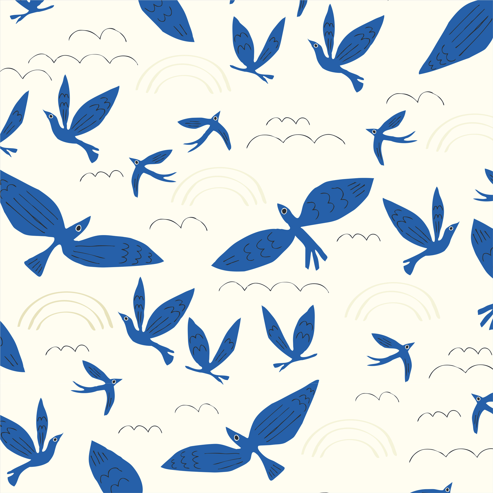 No Place Like Home - Blue Birds Fly - Cloud 9 Organic Cotton