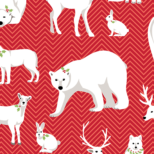 Nordic Holiday - White Animals Red