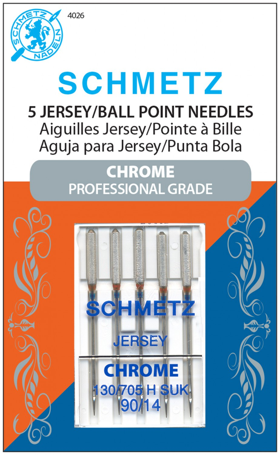 Schmetz Chrome Jersey/Ball Point Needles - Size 90/14