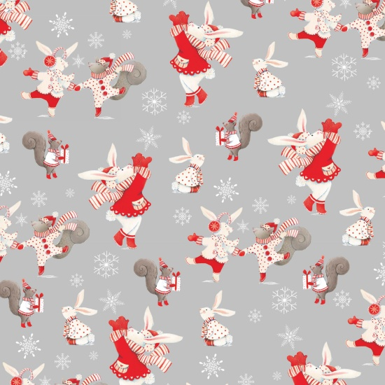 Joy Love Peace - Bunnies & Squirrels Grey