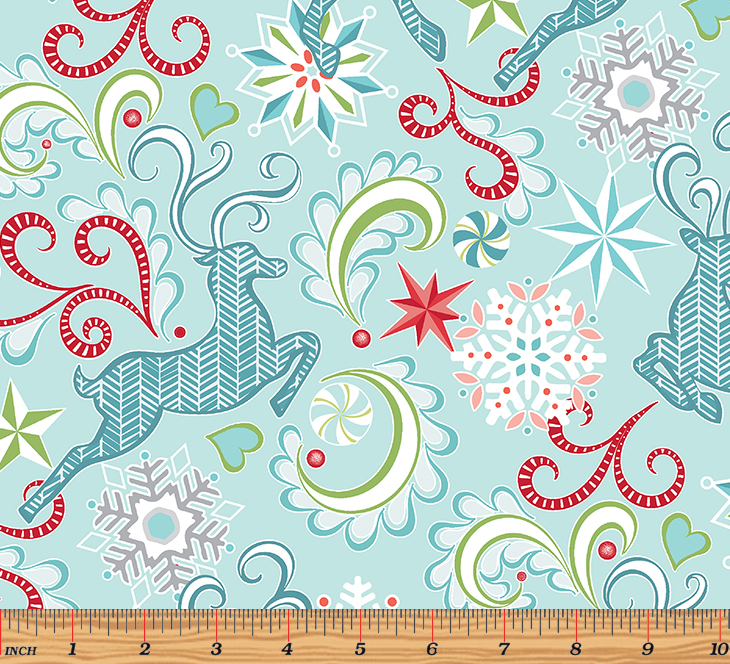 Nordic Holiday - Nordic Reindeer Light Blue