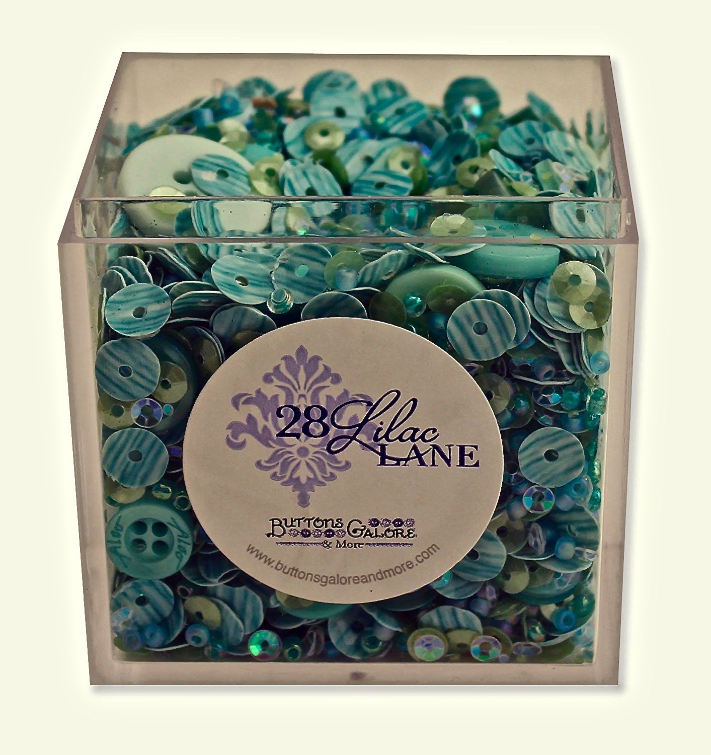 Buttons Galore 28 Lilac Lane Shaker Mix - Sea Glass