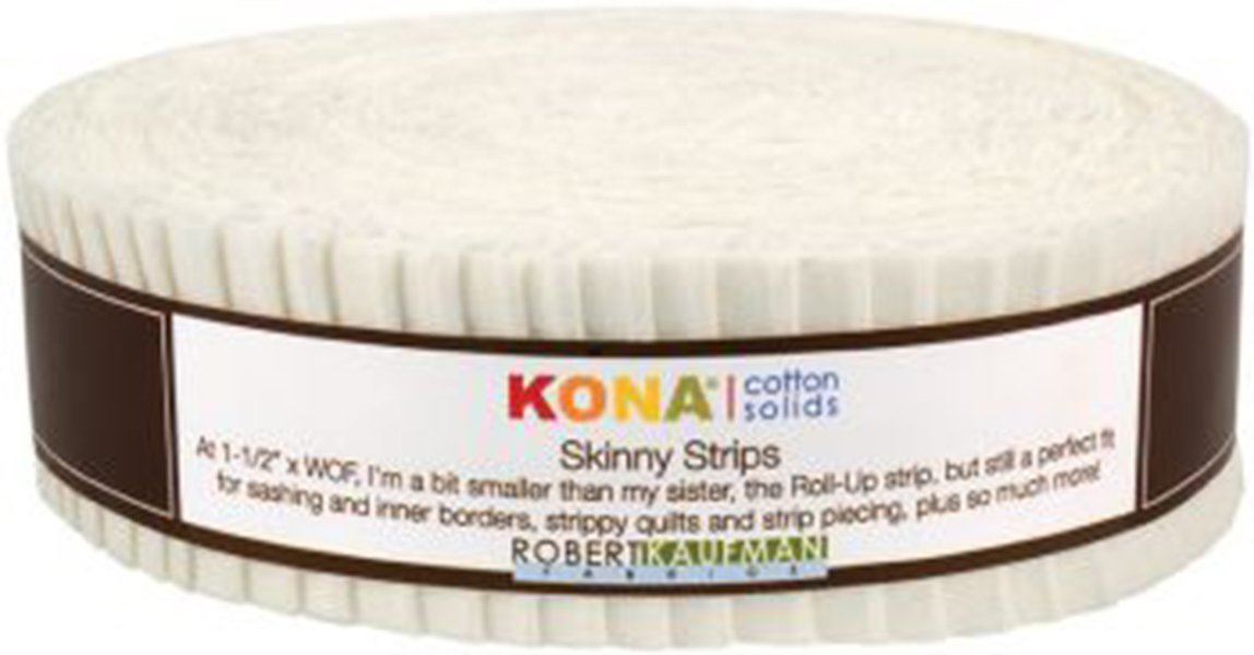 Kona Cotton Solids 1.5-inch Skinny Strips - Snow