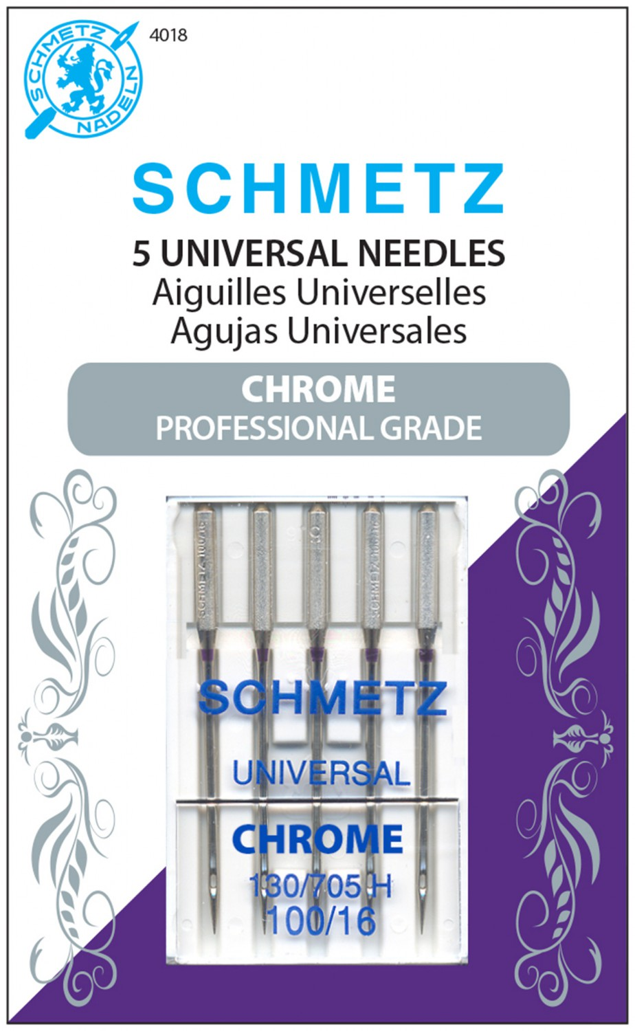 Schmetz Chrome Universal Needles - Size 100/16