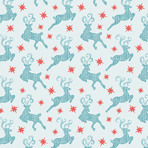 Nordic Holiday - Small Reindeer Light Blue
