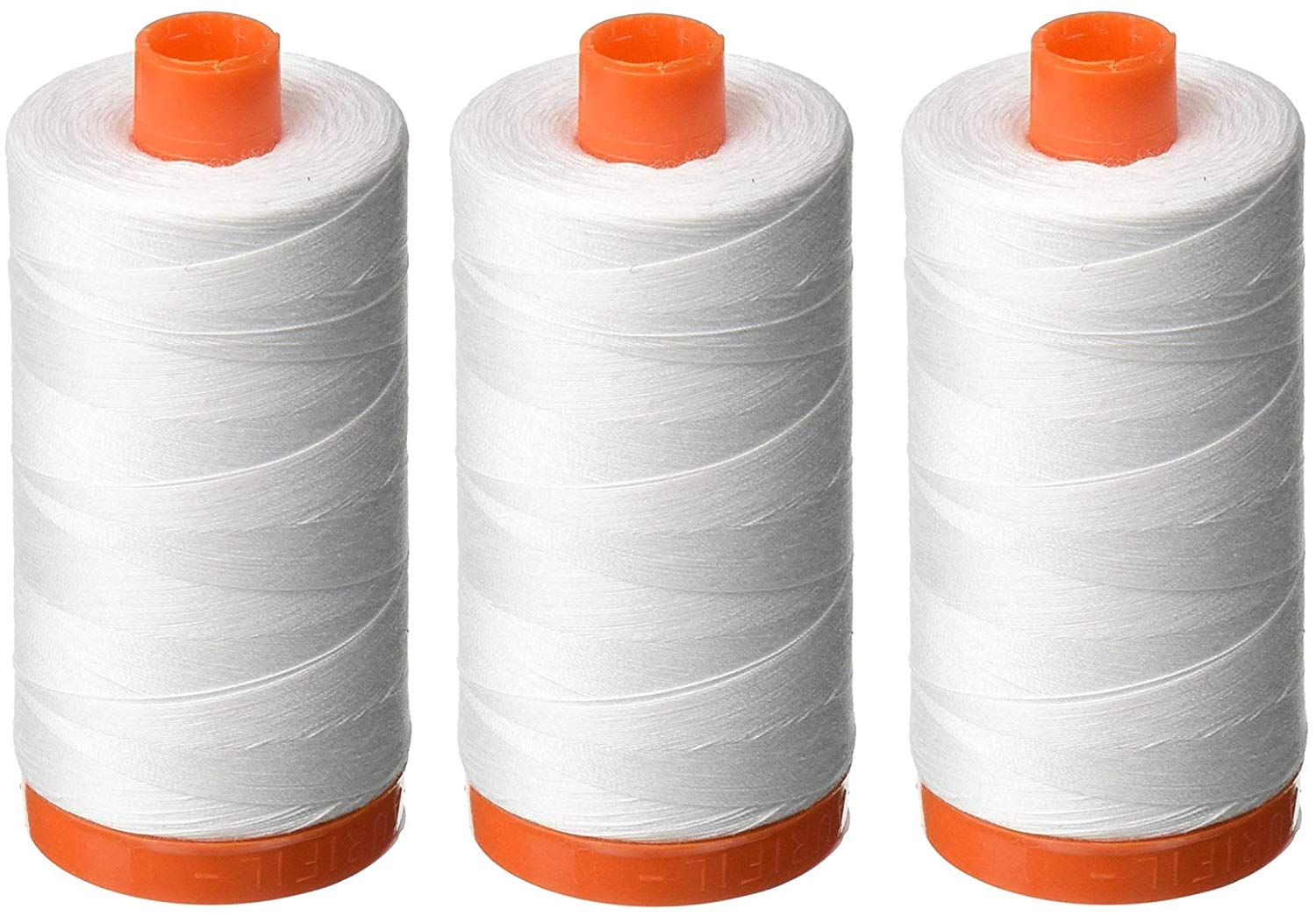 Aurifil Mako 50wt Cotton Thread - White (2024) - Bundle of 3