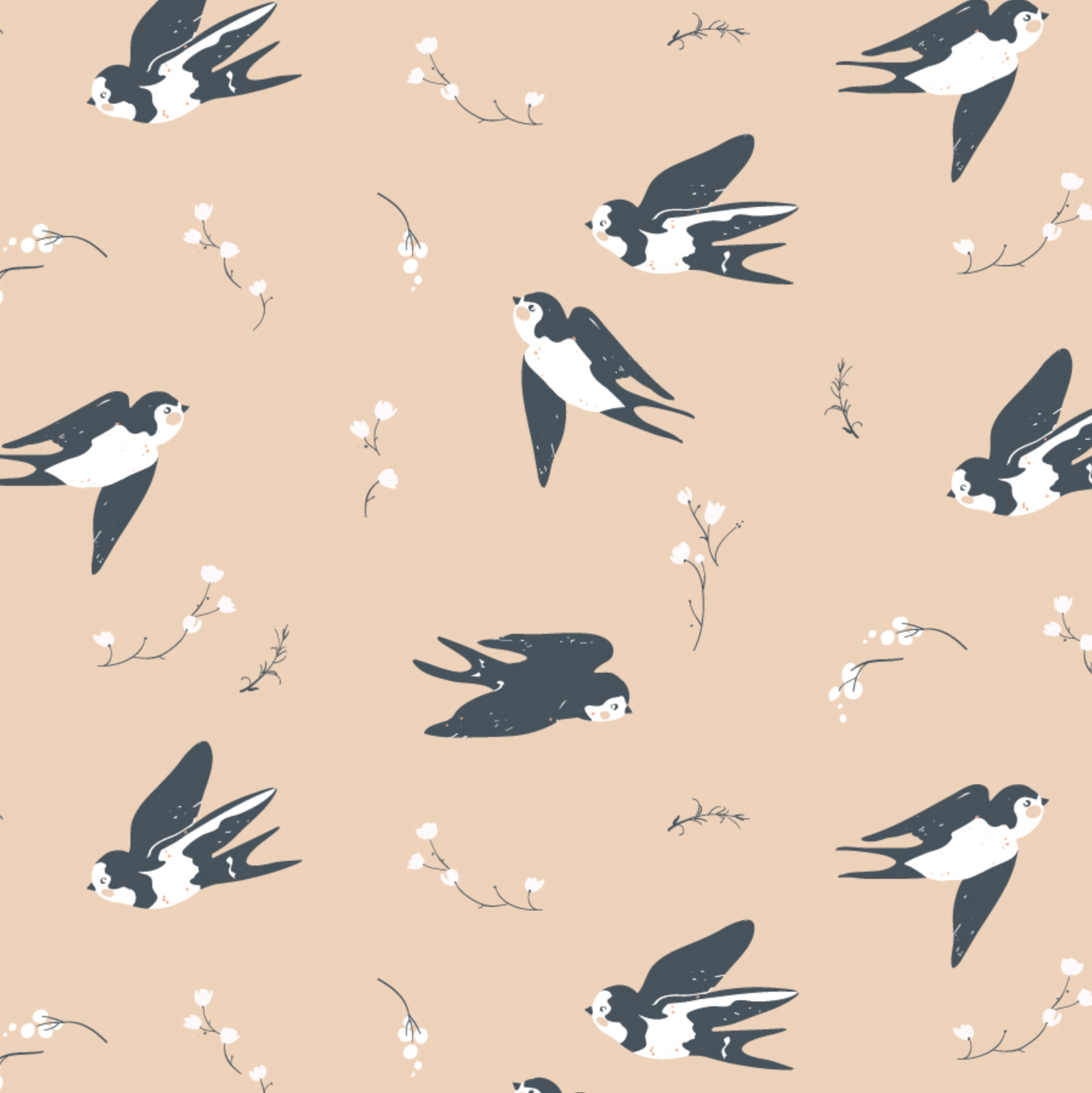Little by Birch Fabrics - Happy Swallow Organic Poplin