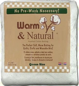 "Warm & Natural Cotton Batting - Queen Size - 90"" x 108"""