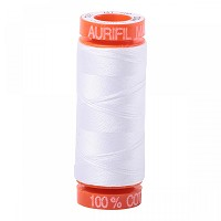 Aurifil Mako 50 wt Cotton Thread - 220 yds - White (2024)