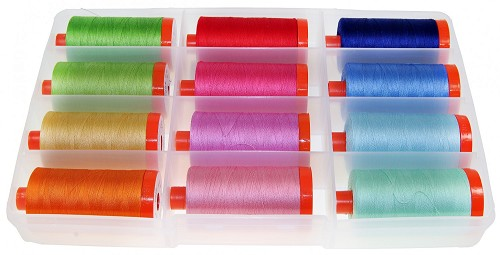 Bee in My Bonnet's Happy Colors 50wt Thread Collection by Aurifil - Box of 12 large spools