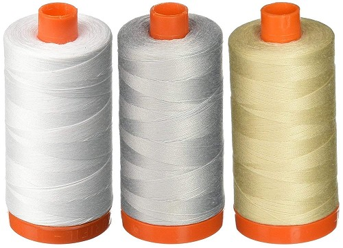 Aurifil Mako 50wt Cotton Thread - 3-PACK - White + Dove + Light Beige