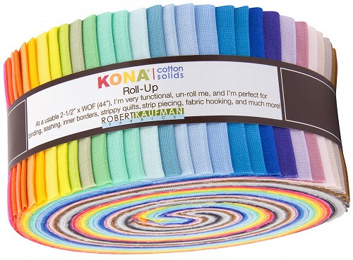Kona Cotton Solids 2.5-inch Strips Roll-Up - 2017 New Colors