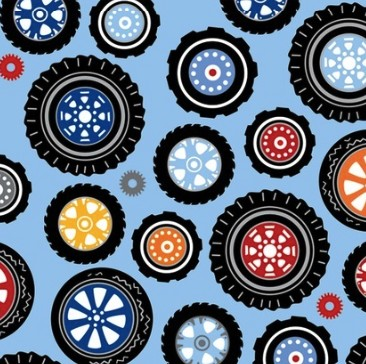 Rev Em Up - Polka Dot Wheels Blue