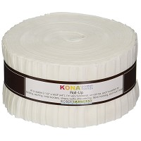 Kona Cotton Solid 2.5-inch Strips Roll-Up - White
