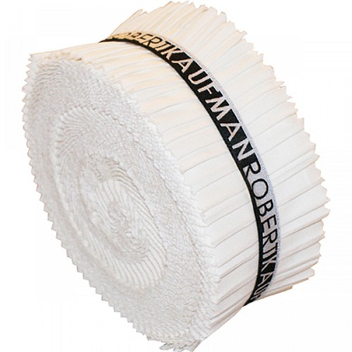 Kona Cotton Solids 2.5-inch Strips Roll-Up - Snow - 40pcs