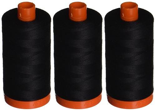 Aurifil Mako 50 wt Cotton Thread - Black (2692) - Set of 3