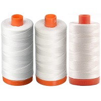 3-PACK - Aurifil Mako 50 wt Cotton Thread - White + Natural White + Chalk