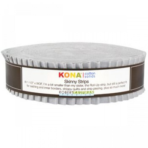 Kona Cotton Solids 1.5-inch Strips Roll-Up - Ash - 40 strips