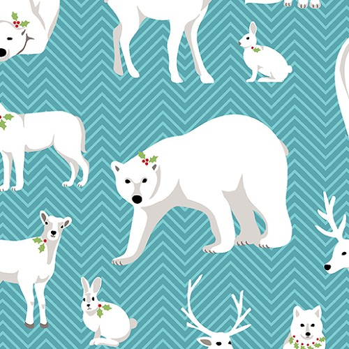 Nordic Holiday - White Animals Teal